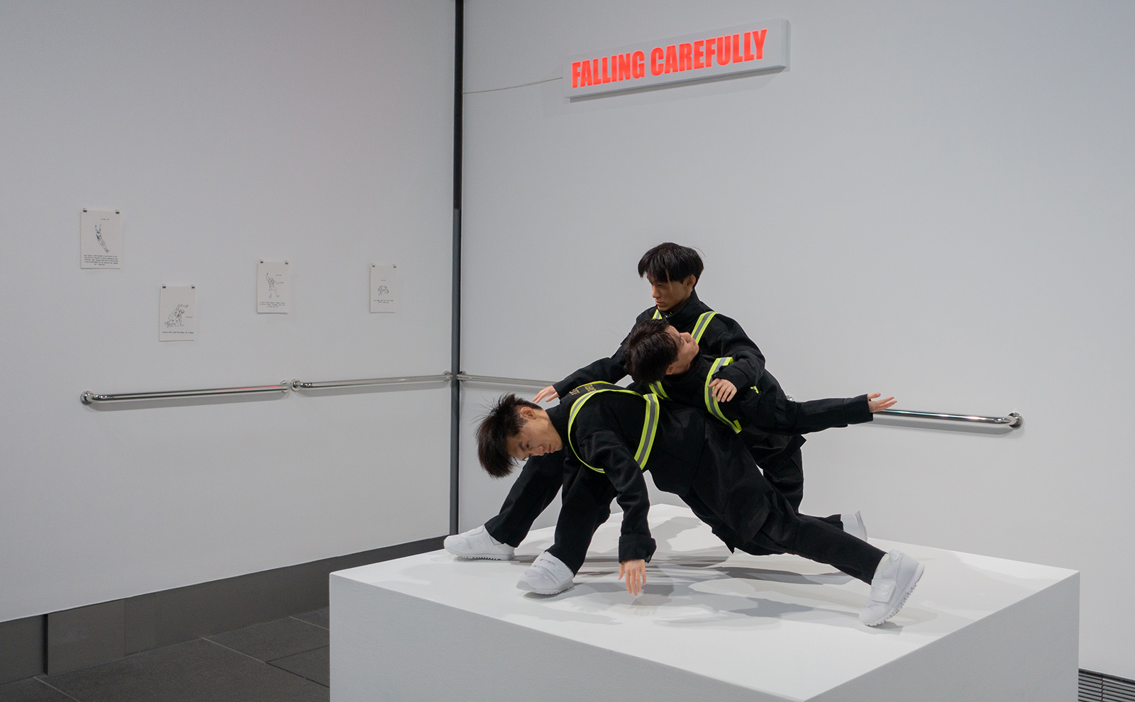Photo of Isaac Chong's Falling Carefully sculptures at Asia Society Hong Kong